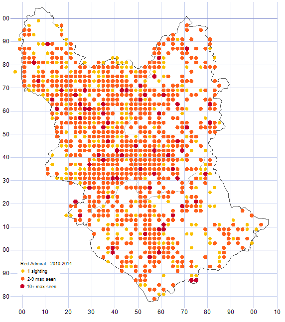 Red Admiral distribution map 2010-14