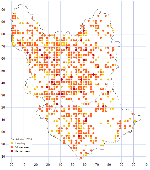 Red Admiral distribution map 2014